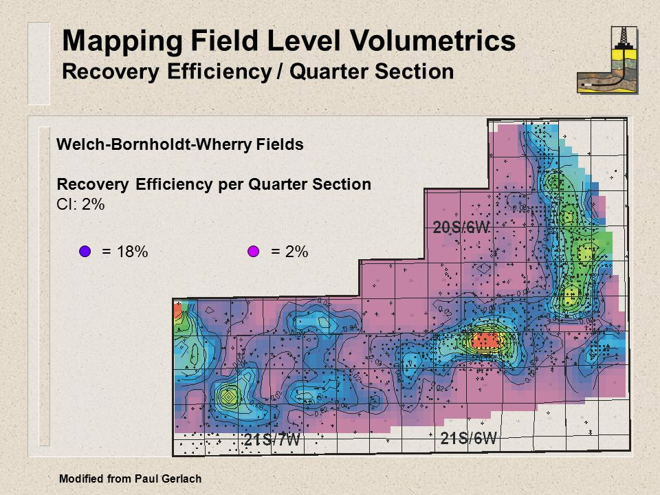 Welch-Bornholdt-Wherry Fields Recovery Efficiency per Quarter Section CI: 2% = 18% = 2% Mapping Field Level Volumetrics Recovery Efficiency / Quarter Section Modified from Paul Gerlach