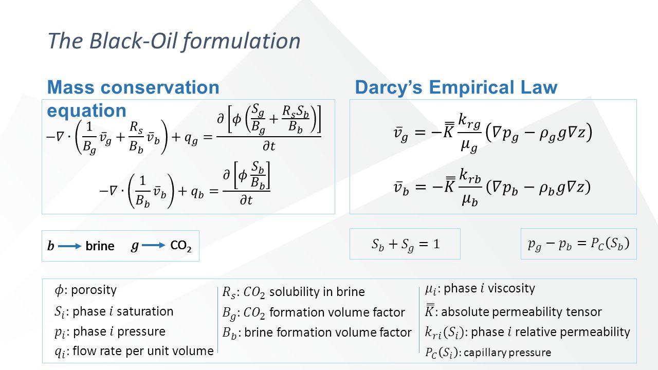 Mass conservation equation The Black-Oil formulation Darcy's Empirical Law