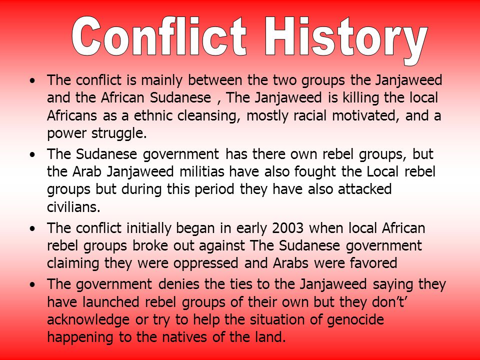 The conflict is mainly between the two groups the Janjaweed and the African Sudanese, The Janjaweed is killing the local Africans as a ethnic cleansing, mostly racial motivated, and a power struggle.