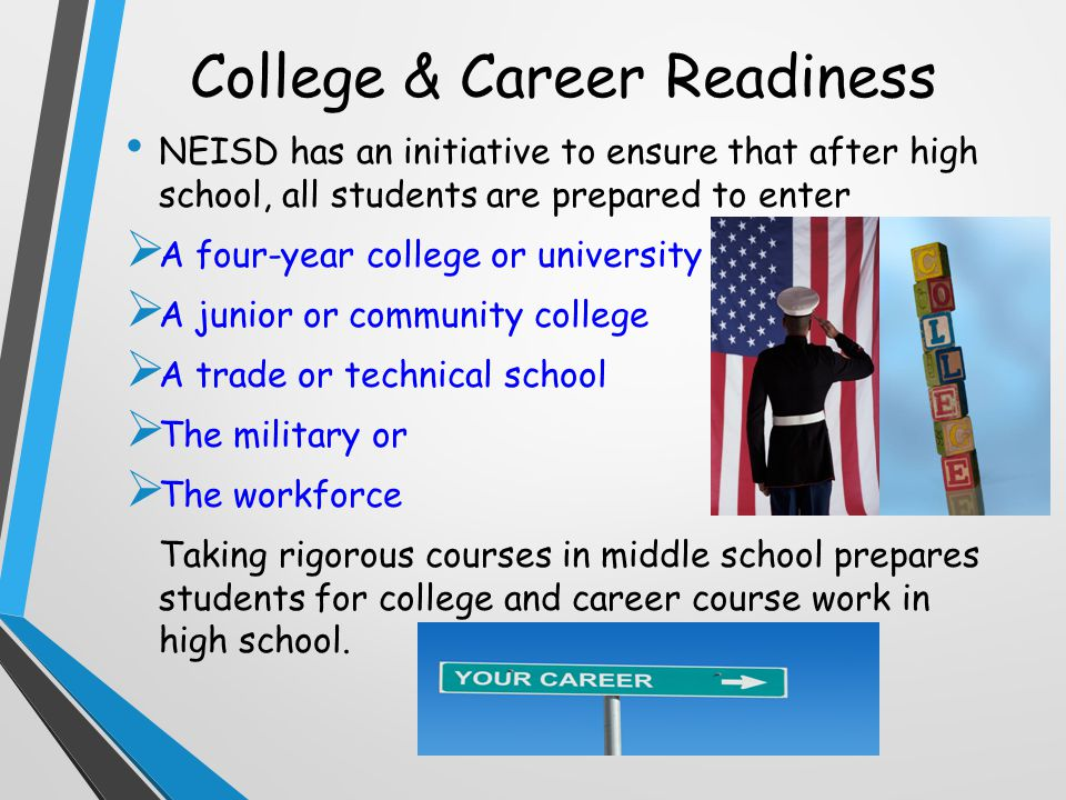 College & Career Readiness NEISD has an initiative to ensure that after high school, all students are prepared to enter  A four-year college or university  A junior or community college  A trade or technical school  The military or  The workforce Taking rigorous courses in middle school prepares students for college and career course work in high school.
