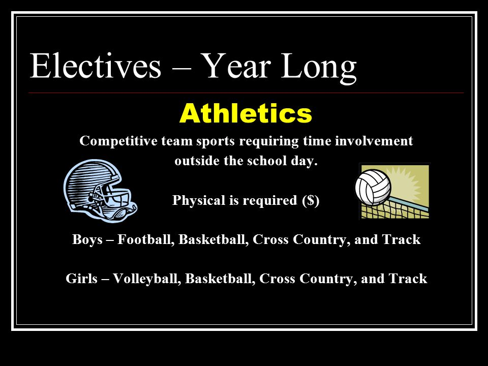 Electives – Year Long Athletics Competitive team sports requiring time involvement outside the school day.