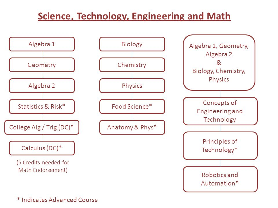 Science, Technology, Engineering and Math Algebra 1 Geometry Algebra 2 Calculus (DC)* College Alg / Trig (DC)* Concepts of Engineering and Technology Principles of Technology* Robotics and Automation* Algebra 1, Geometry, Algebra 2 & Biology, Chemistry, Physics * Indicates Advanced Course Statistics & Risk* (5 Credits needed for Math Endorsement) Biology Food Science* Physics Chemistry Anatomy & Phys*