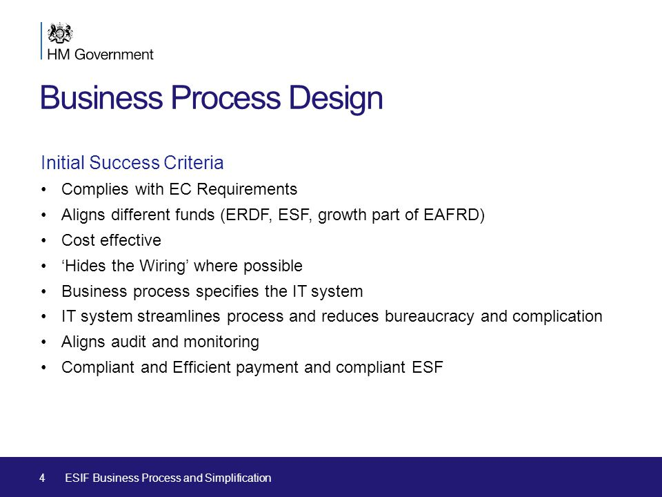 Business Process Design Initial Success Criteria Complies with EC Requirements Aligns different funds (ERDF, ESF, growth part of EAFRD) Cost effective 'Hides the Wiring' where possible Business process specifies the IT system IT system streamlines process and reduces bureaucracy and complication Aligns audit and monitoring Compliant and Efficient payment and compliant ESF 4ESIF Business Process and Simplification