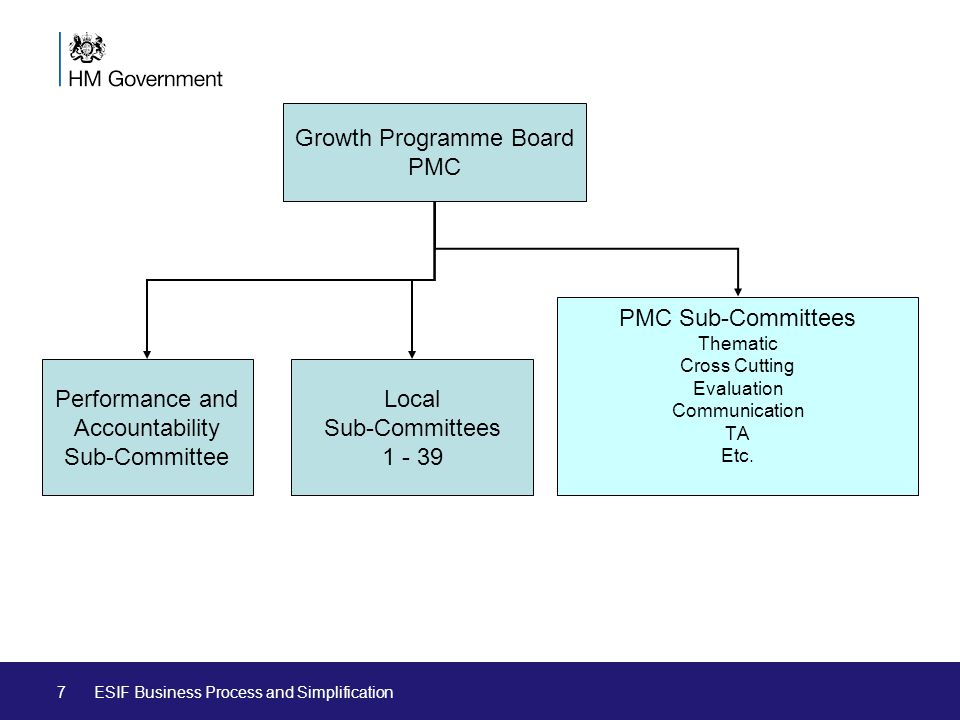 7 Growth Programme Board PMC Performance and Accountability Sub-Committee PMC Sub-Committees Thematic Cross Cutting Evaluation Communication TA Etc.