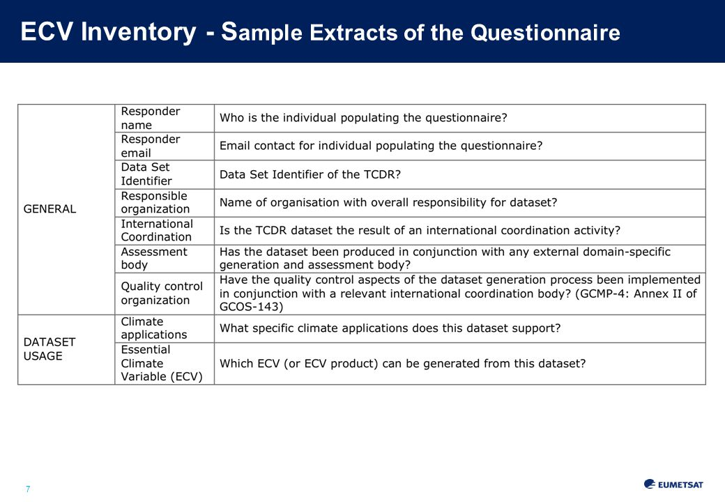 7 ECV Inventory - S ample Extracts of the Questionnaire