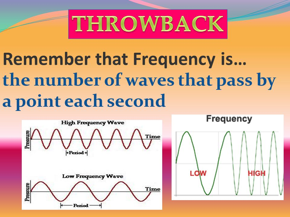 Remember that Frequency is… the number of waves that pass by a point each second