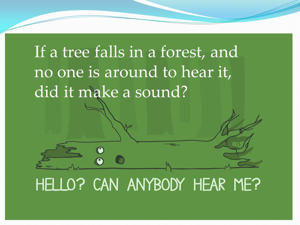 If a tree falls in a forest, and no one is around to hear it, did it make a sound