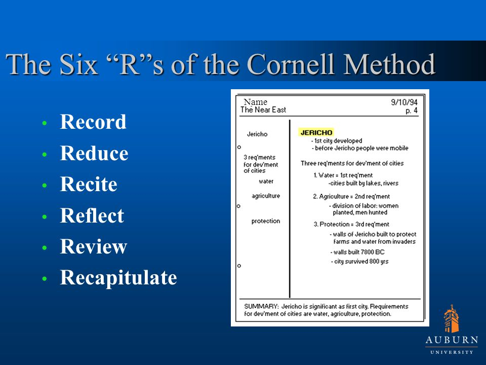 The Six R s of the Cornell Method Record Reduce Recite Reflect Review Recapitulate Name