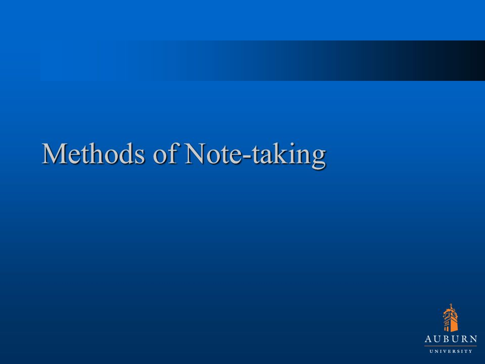 Methods of Note-taking
