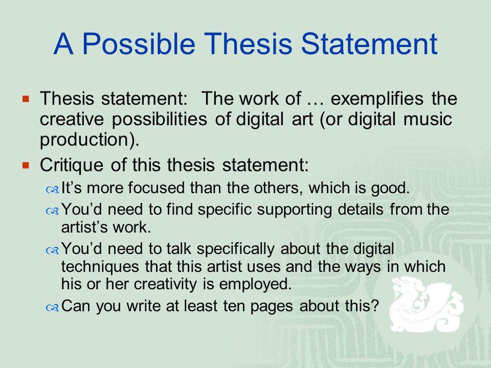 art thesis statement