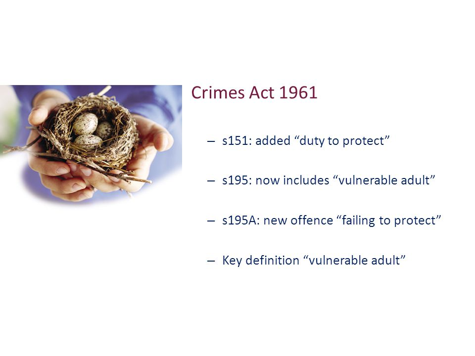 Crimes Act 1961 – s151: added duty to protect – s195: now includes vulnerable adult – s195A: new offence failing to protect – Key definition vulnerable adult
