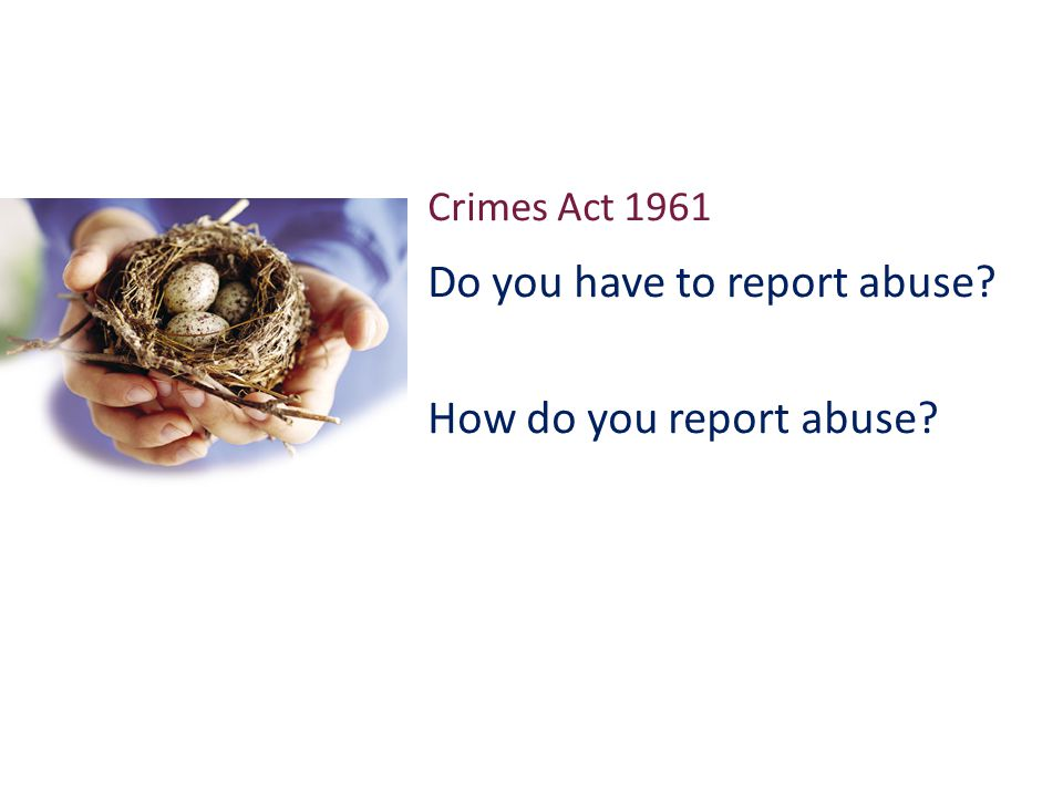 Crimes Act 1961 Do you have to report abuse How do you report abuse
