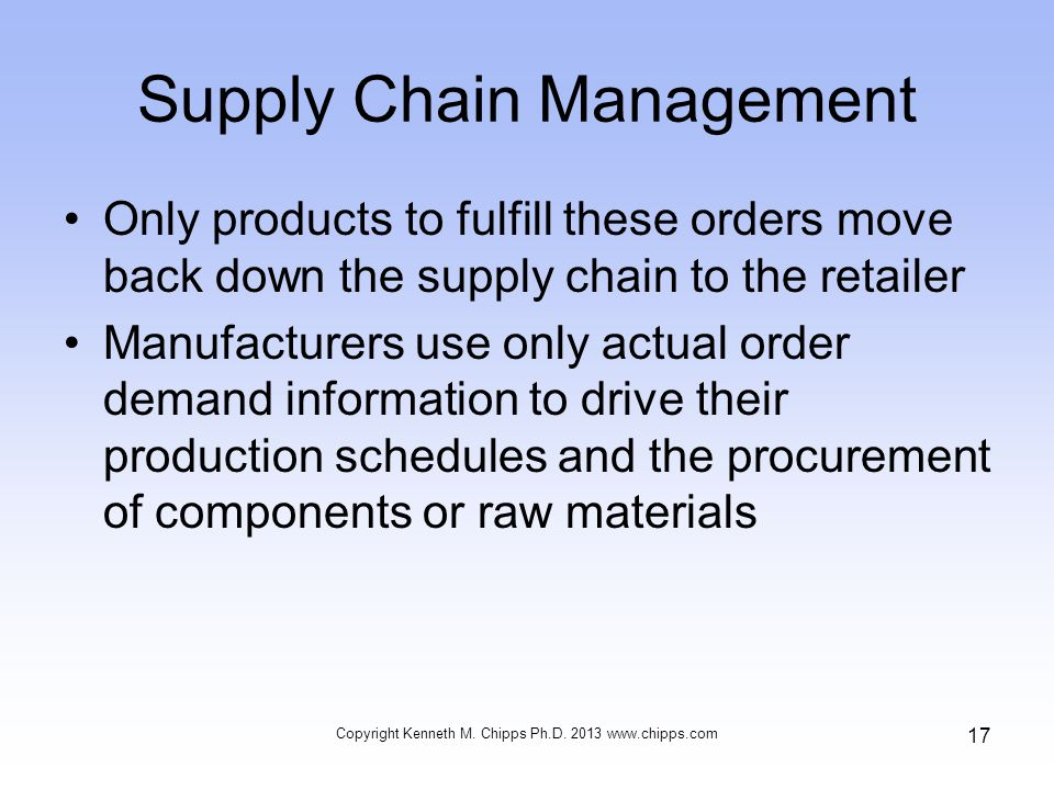 Supply Chain Management Only products to fulfill these orders move back down the supply chain to the retailer Manufacturers use only actual order demand information to drive their production schedules and the procurement of components or raw materials Copyright Kenneth M.