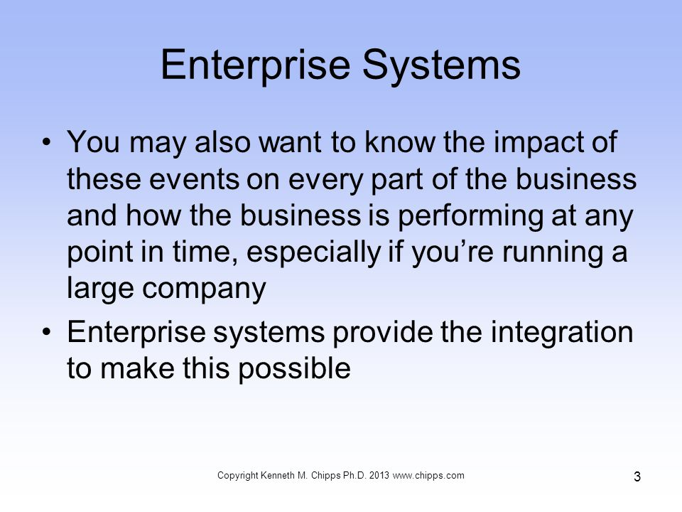 Enterprise Systems You may also want to know the impact of these events on every part of the business and how the business is performing at any point in time, especially if you're running a large company Enterprise systems provide the integration to make this possible Copyright Kenneth M.