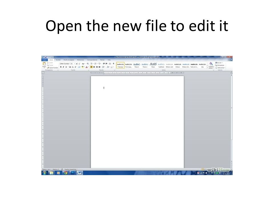 Open the new file to edit it