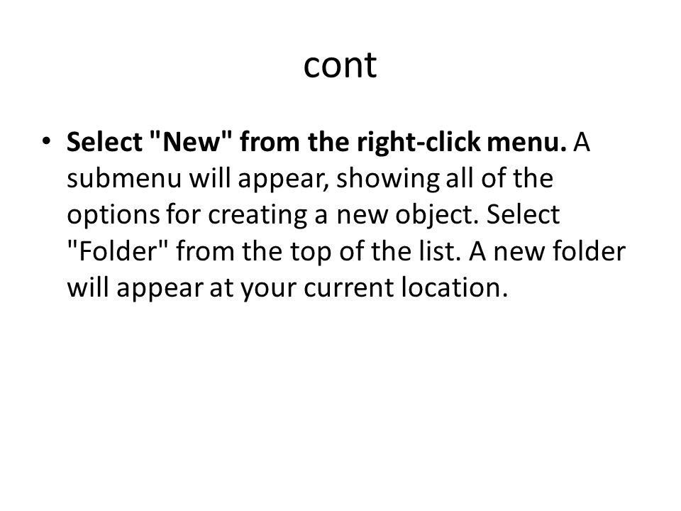 Select New from the right-click menu.
