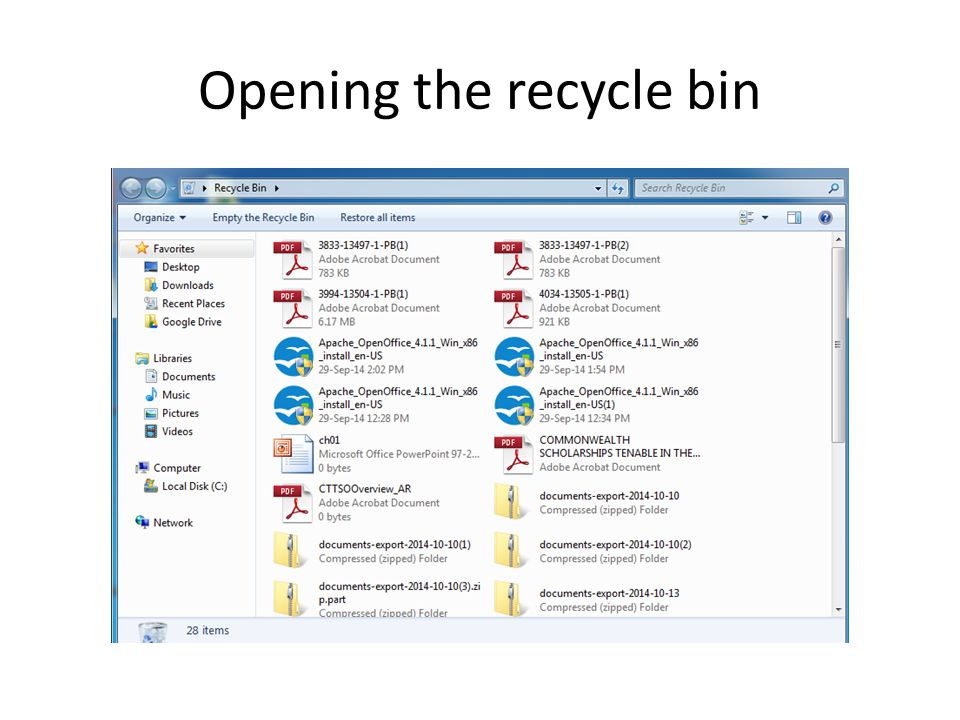 Opening the recycle bin