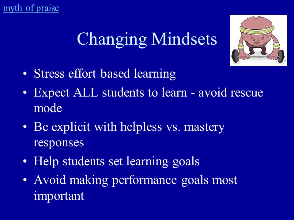 Changing Mindsets Stress effort based learning Expect ALL students to learn - avoid rescue mode Be explicit with helpless vs.