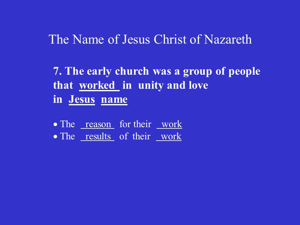 The Name of Jesus Christ of Nazareth 7.
