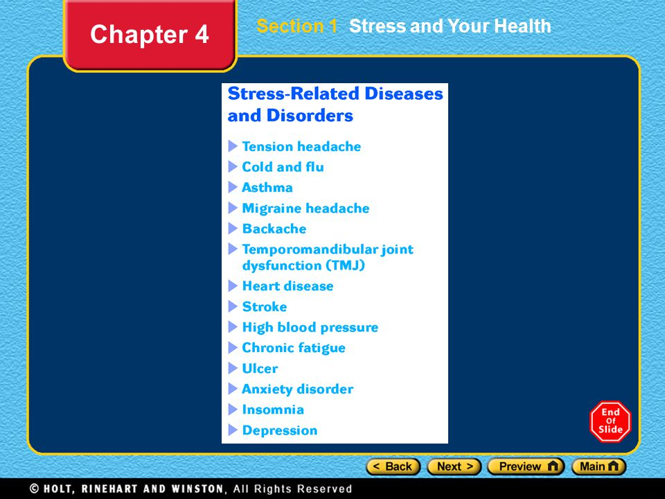 Section 1 Stress and Your Health Chapter 4