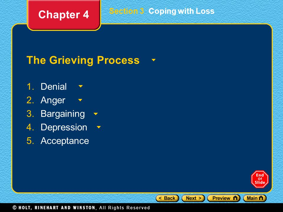 Section 3 Coping with Loss The Grieving Process 1.Denial 2.Anger 3.Bargaining 4.Depression 5.Acceptance Chapter 4