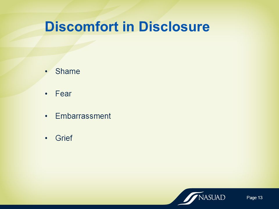 Discomfort in Disclosure Shame Fear Embarrassment Grief Page 13