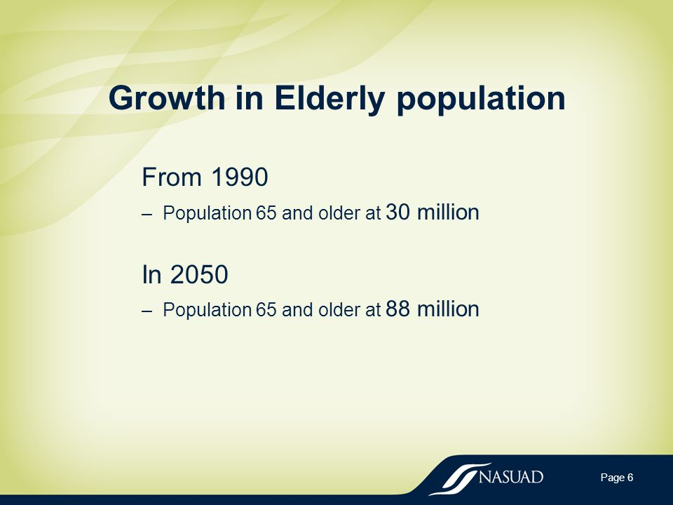 Growth in Elderly population From 1990 –Population 65 and older at 30 million In 2050 –Population 65 and older at 88 million Page 6