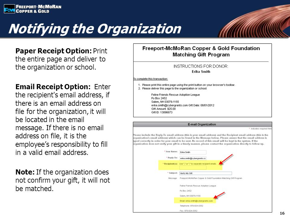 Paper Receipt Option: Print the entire page and deliver to the organization or school.