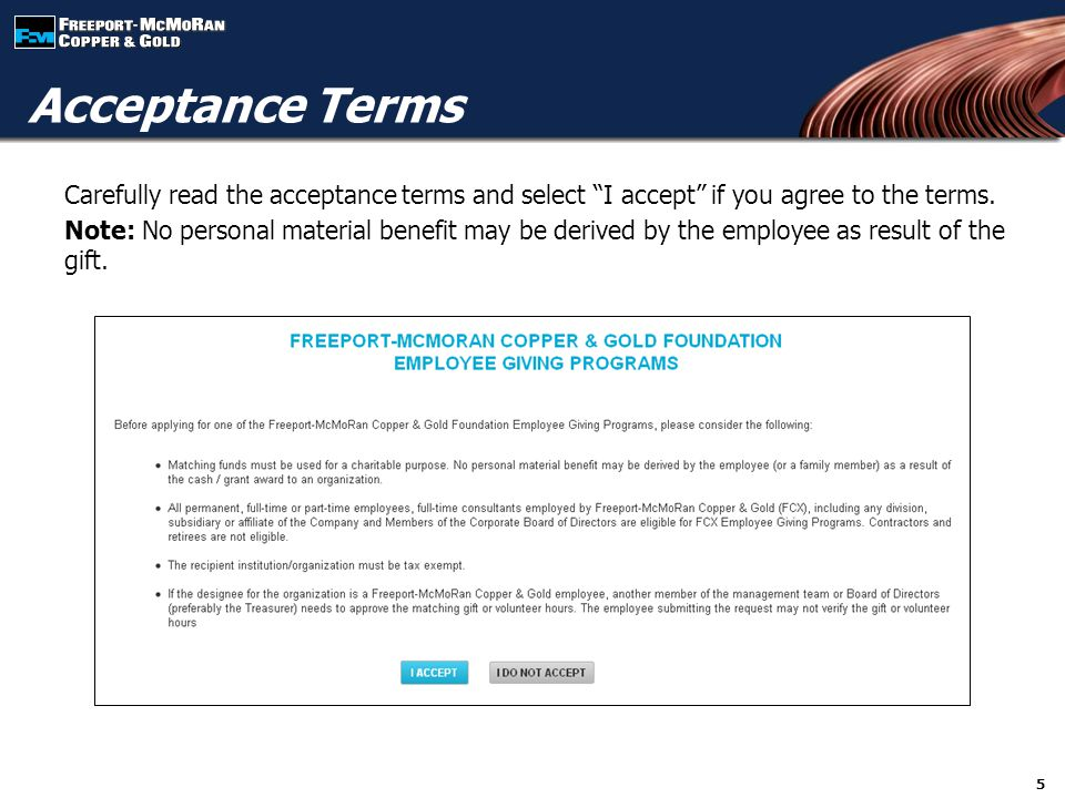 Carefully read the acceptance terms and select I accept if you agree to the terms.