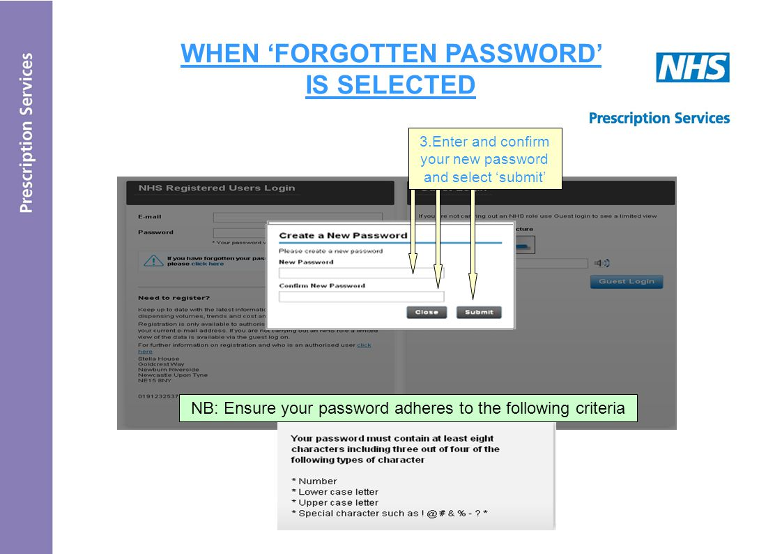 WHEN 'FORGOTTEN PASSWORD' IS SELECTED 3.Enter and confirm your new password and select 'submit' NB: Ensure your password adheres to the following criteria