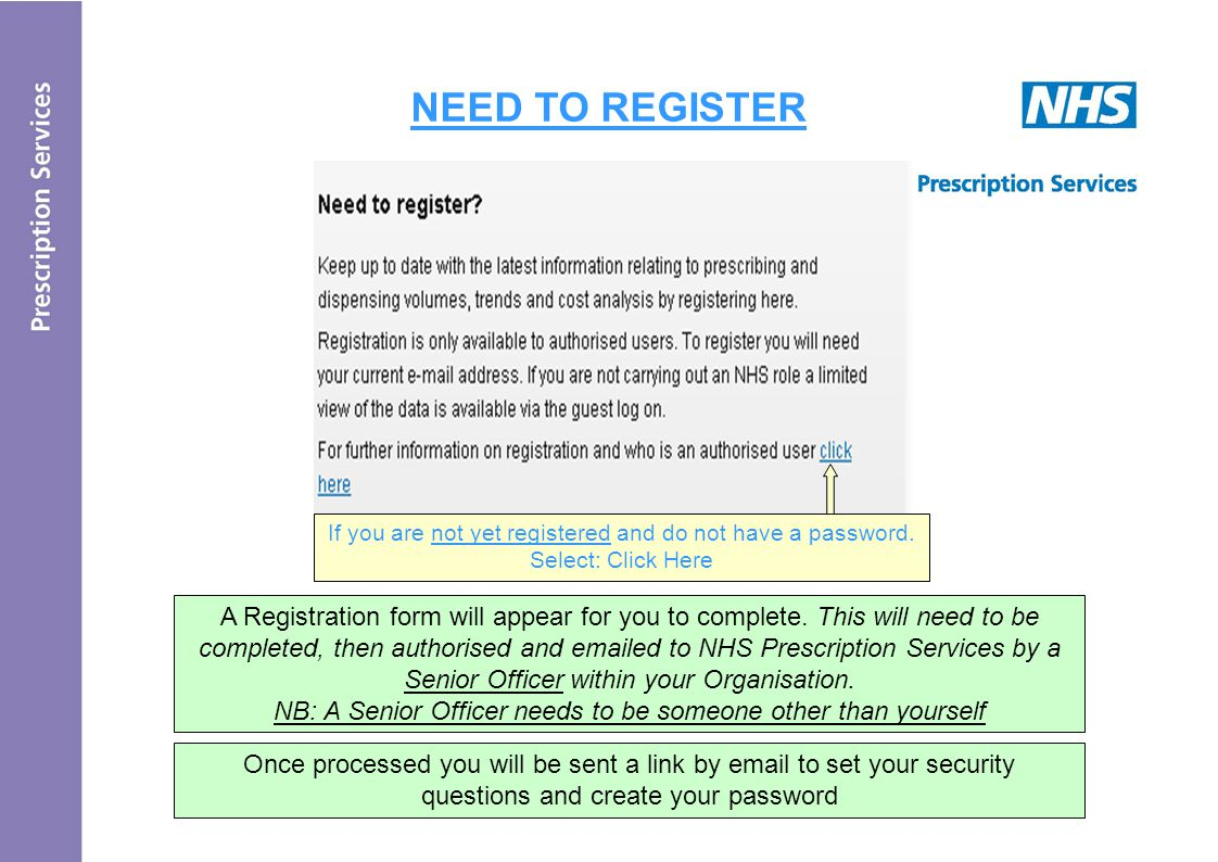 NEED TO REGISTER A Registration form will appear for you to complete.