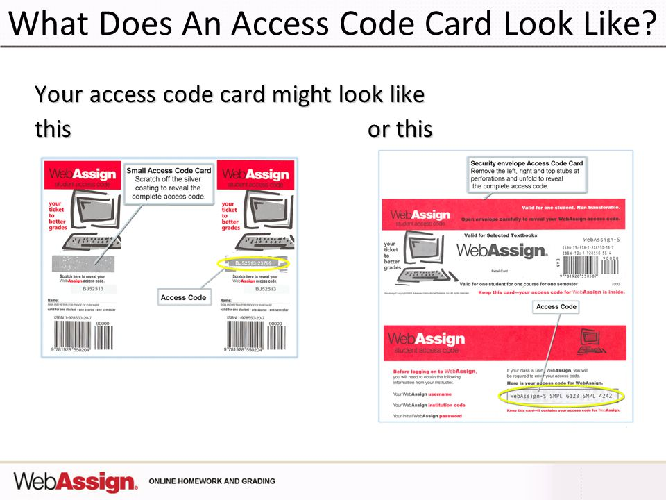 What Does An Access Code Card Look Like Your access code card might look like this or this