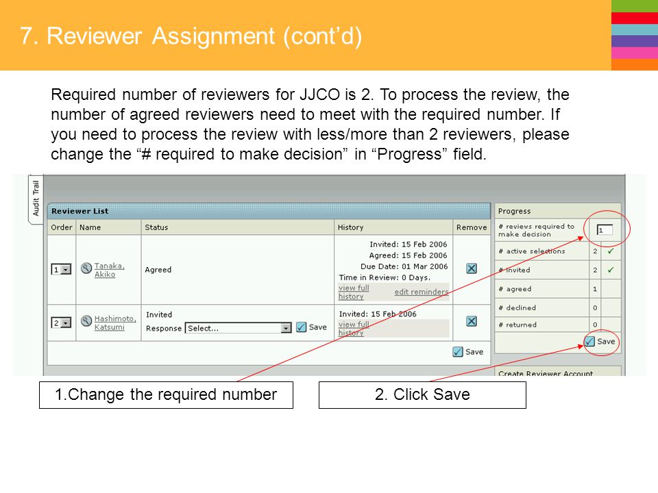 7. Reviewer Assignment (cont'd) Required number of reviewers for JJCO is 2.