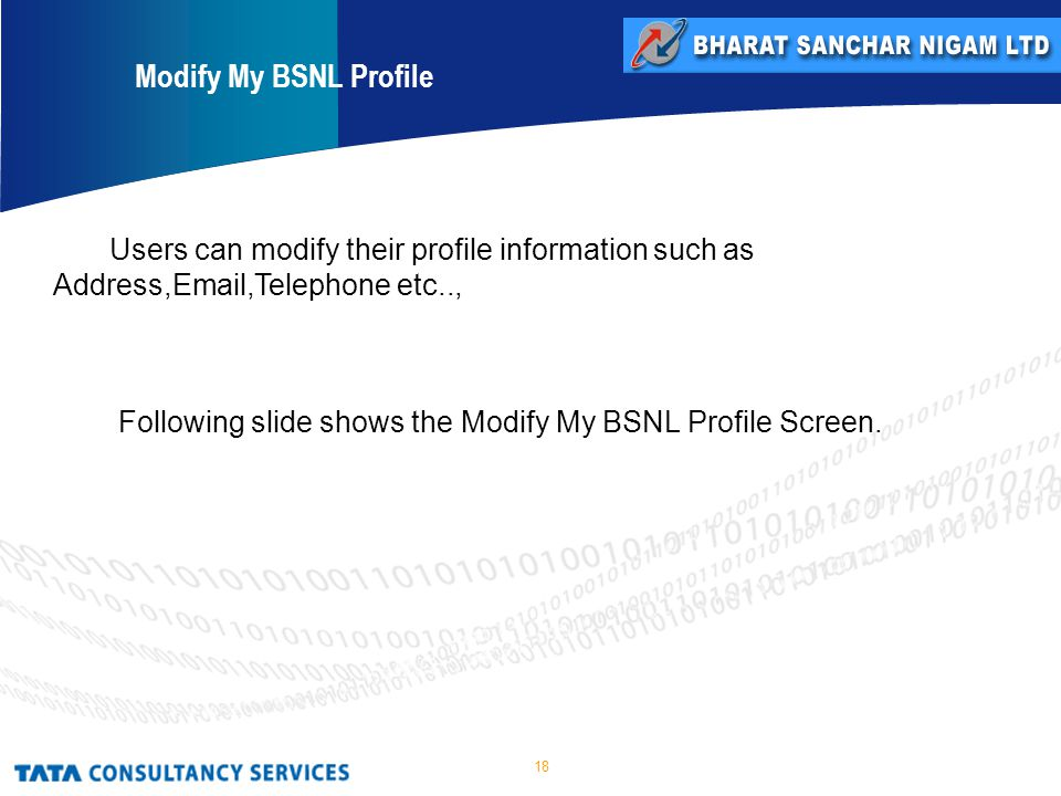 18 Users can modify their profile information such as Address, ,Telephone etc.., Following slide shows the Modify My BSNL Profile Screen.
