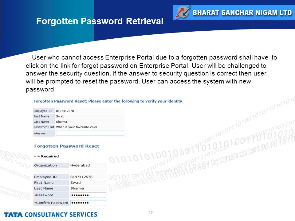 27 User who cannot access Enterprise Portal due to a forgotten password shall have to click on the link for forgot password on Enterprise Portal.