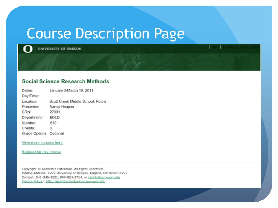 Course Description Page