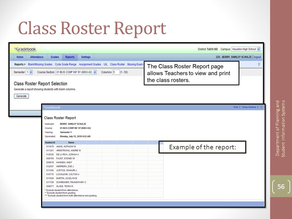 example of student information system