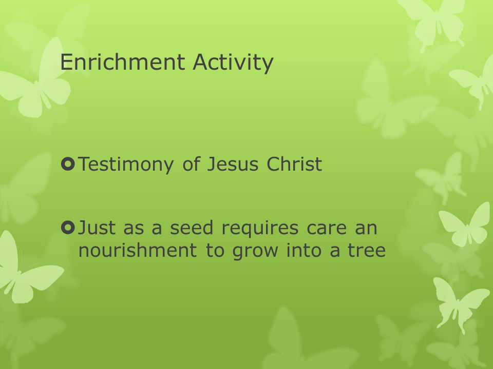 Enrichment Activity  Testimony of Jesus Christ  Just as a seed requires care an nourishment to grow into a tree
