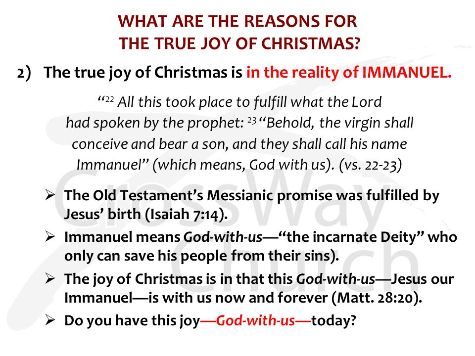 WHAT ARE THE REASONS FOR THE TRUE JOY OF CHRISTMAS.