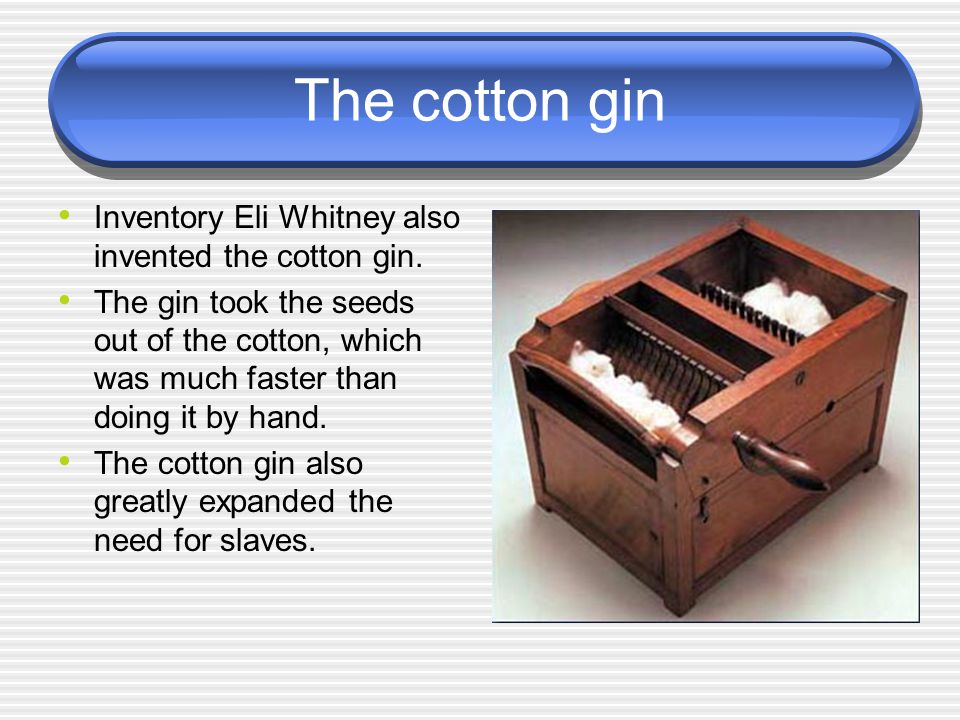 The cotton gin Inventory Eli Whitney also invented the cotton gin.