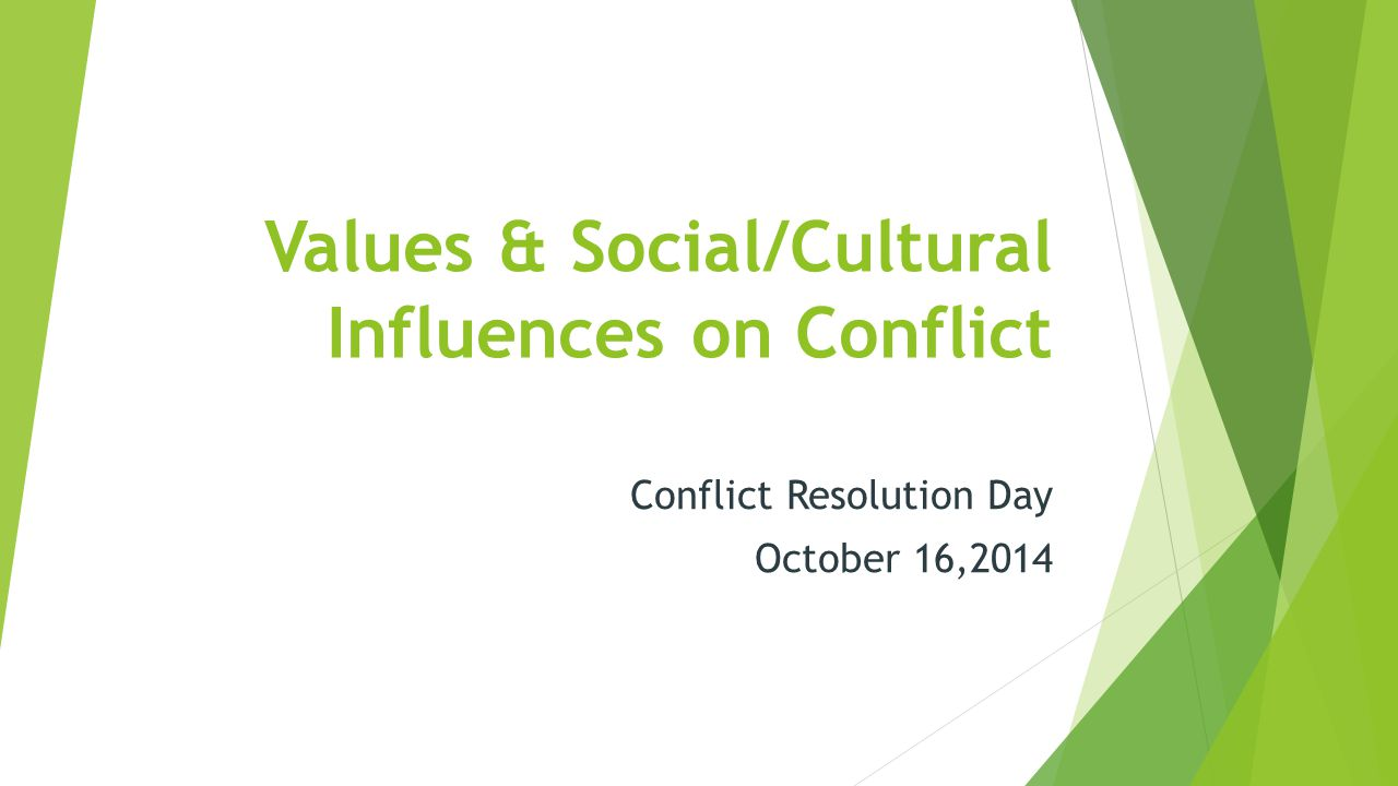 1 Values & Social/Cultural Influences on Conflict Conflict Resolution Day  October 16,2014