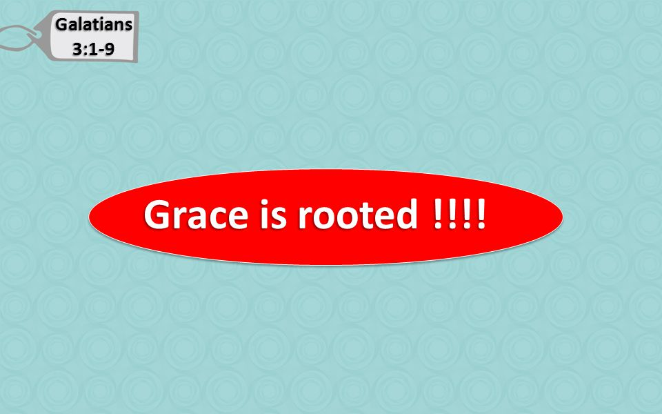 Galatians 3:1-9 Grace is rooted !!!! Grace is rooted !!!!