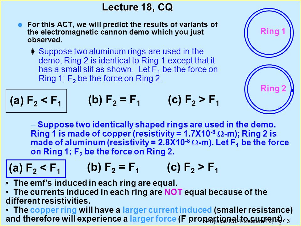 Physics 1304: Lecture 13, Pg 12 Lecture 18, CQ l For this ACT, we will predict the results of variants of the electromagnetic cannon demo which you just observed.