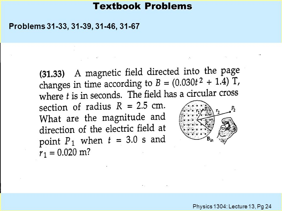 Physics 1304: Lecture 13, Pg 23 Lecture 18, CQ l The magnetic field in a region of space of radius 2R is aligned with the -z-direction and changes in time as shown in the plot.