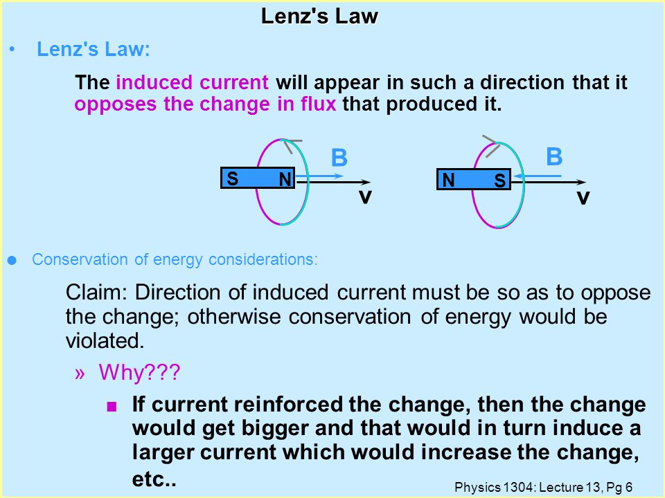 Physics 1304: Lecture 13, Pg 5 Faraday s Law Define the flux of the magnetic field through a surface (closed or open) from: l Faraday s Law: The emf induced in a circuit is determined by the time rate of change of the magnetic flux through that circuit.