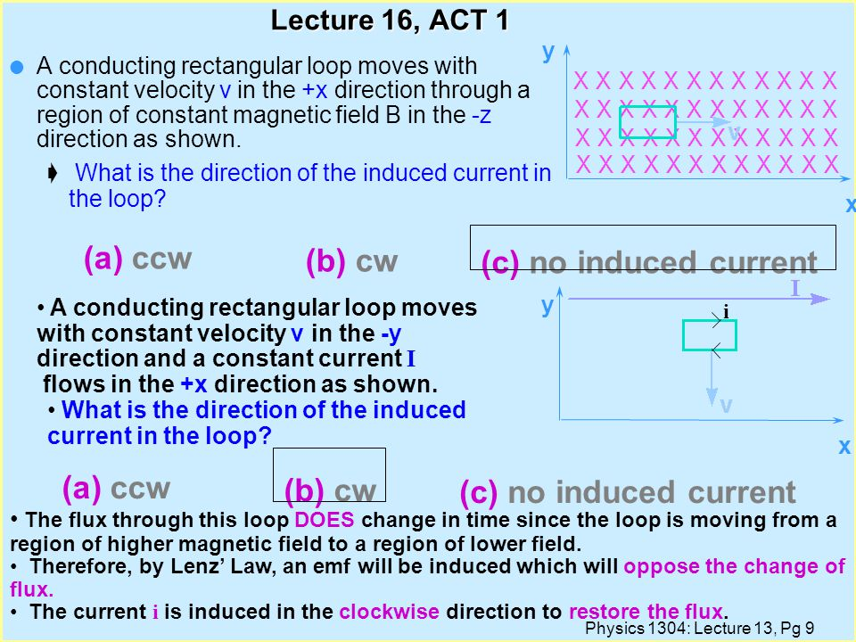 Physics 1304: Lecture 13, Pg 8 Lecture 16, ACT 1 l A conducting rectangular loop moves with constant velocity v in the +x direction through a region of constant magnetic field B in the -z direction as shown.