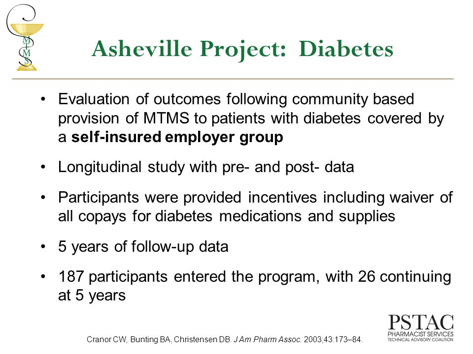 Asheville Project: Diabetes Evaluation of outcomes following community based provision of MTMS to patients with diabetes covered by a self-insured employer group Longitudinal study with pre- and post- data Participants were provided incentives including waiver of all copays for diabetes medications and supplies 5 years of follow-up data 187 participants entered the program, with 26 continuing at 5 years Cranor CW, Bunting BA, Christensen DB.