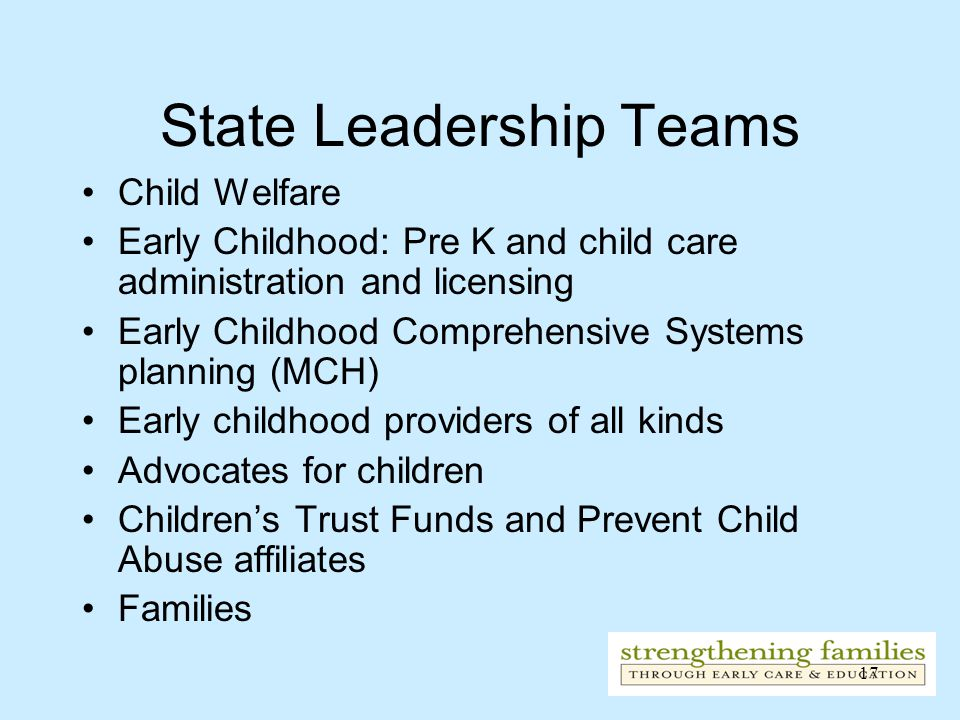 17 State Leadership Teams Child Welfare Early Childhood: Pre K and child care administration and licensing Early Childhood Comprehensive Systems planning (MCH) Early childhood providers of all kinds Advocates for children Children's Trust Funds and Prevent Child Abuse affiliates Families