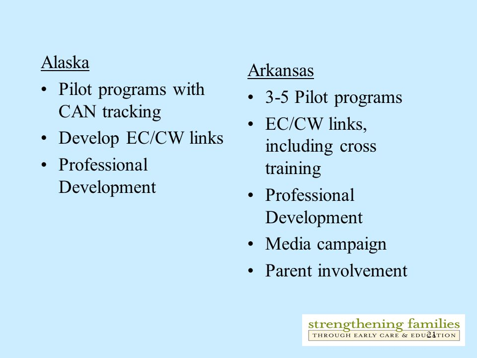 21 Alaska Pilot programs with CAN tracking Develop EC/CW links Professional Development Arkansas 3-5 Pilot programs EC/CW links, including cross training Professional Development Media campaign Parent involvement