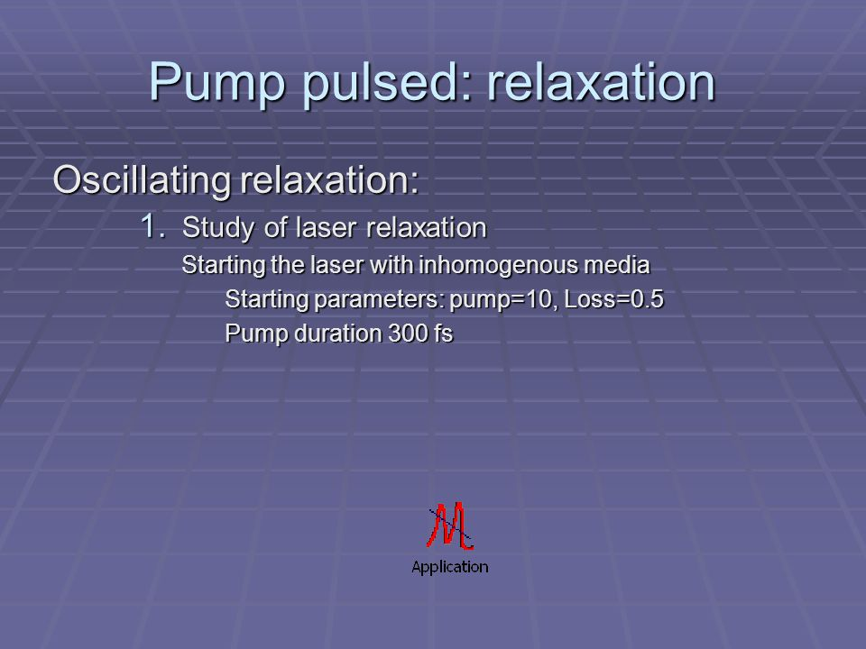 Pump pulsed: relaxation Oscillating relaxation: 1.